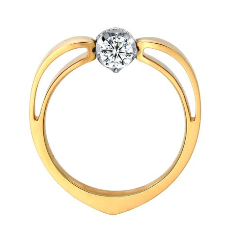 Solitaire anneau bombé - Or blanc et jaune - Couronne diamants 0.16ct