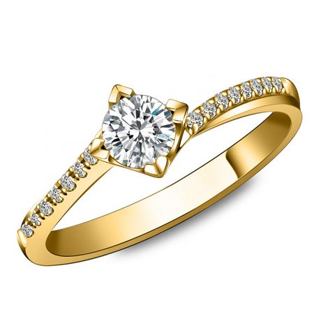 Bague solitaire bordure diamantée - Or jaune 18 carats