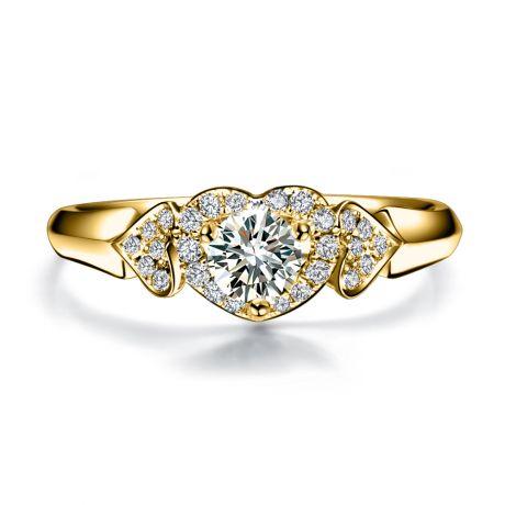 Solitaire diamants en forme de 3 coeurs - Or jaune, diamants