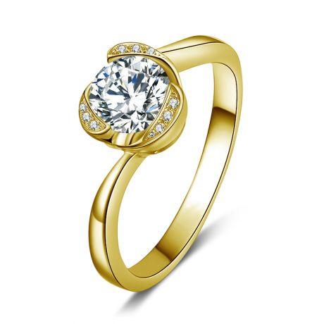 Bague solitaire or jaune 18 carats - Forme coeur - Diamants 0.35ct