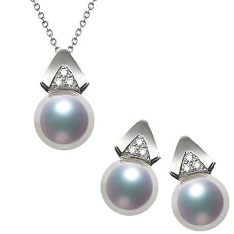 Pendentif et Boucles Tsuguka. Perles Akoya, Or blanc, diamants