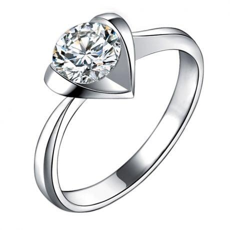 Bague solitaire or blanc - Diamant 0.50ct - Coeur majestueux