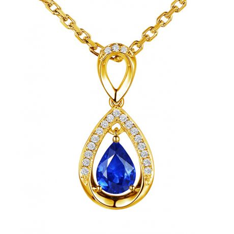 Pendeloque Or jaune 18 carats - Saphir et Diamants en poire