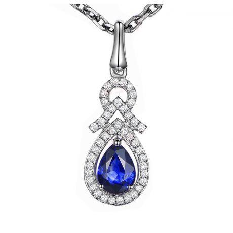 Pendentif Or blanc 18 carats - Saphir et diamants en poire