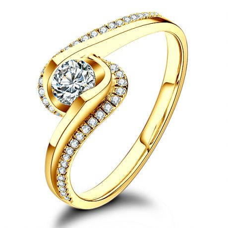 Solitaire en diamants 0.25ct - Or jaune - Baudelaire - A une passante