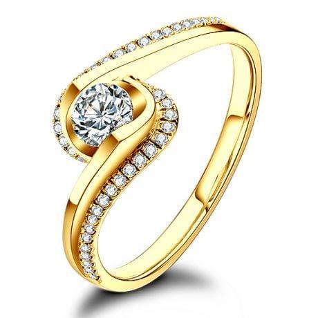Solitaire en diamants 0.25ct - Or jaune - Baudelaire - A une passante