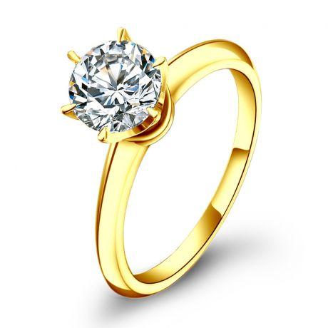 Solitaire en diamant taille brillant - Monture or jaune Timeless