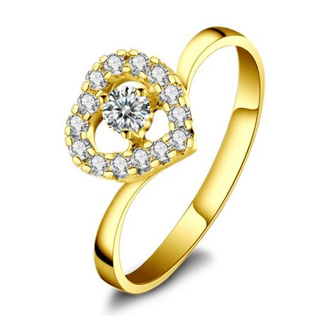Coeur diamanté - Solitaire bague en diamants et or jaune