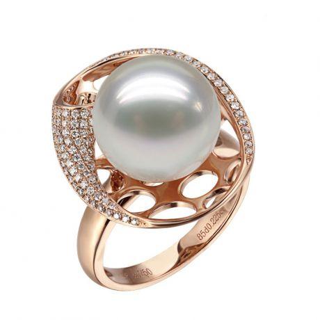 Bague corail starlette - Perle d'Australie, or rose et diamants