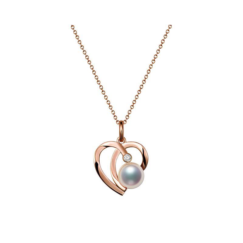 Pendentif Chiaky. Coeur moderne Or rose. Perle Akoya, Diamant
