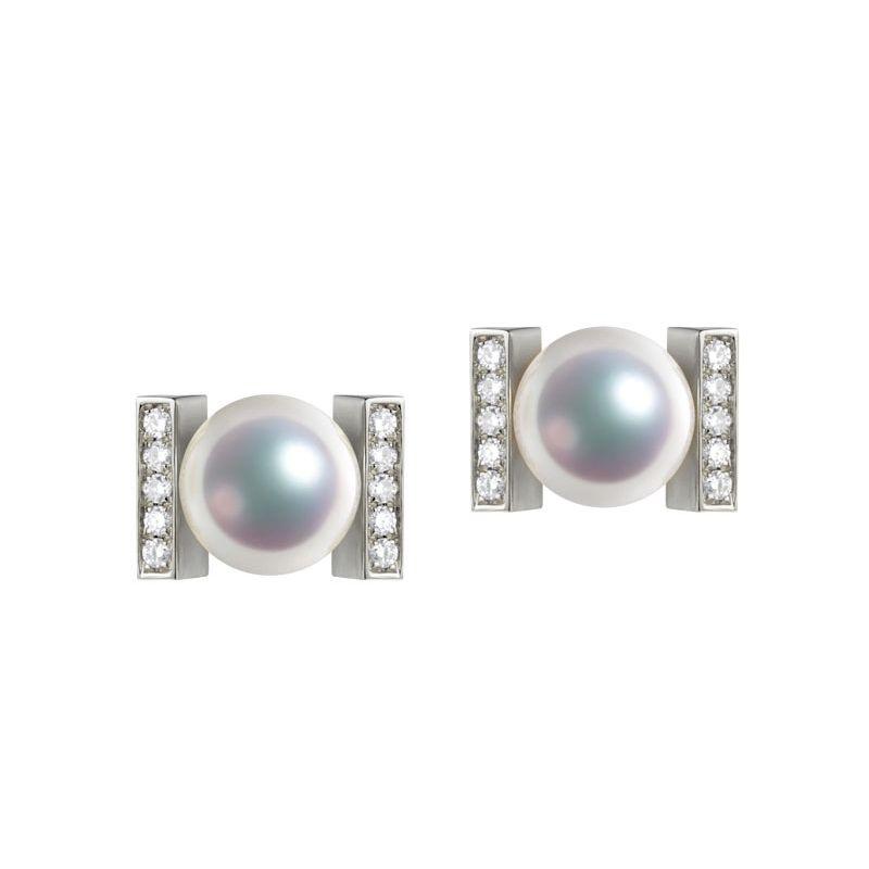 Boucles oreilles modernes forme rail. Or blanc, Diamants et Perles Akoya