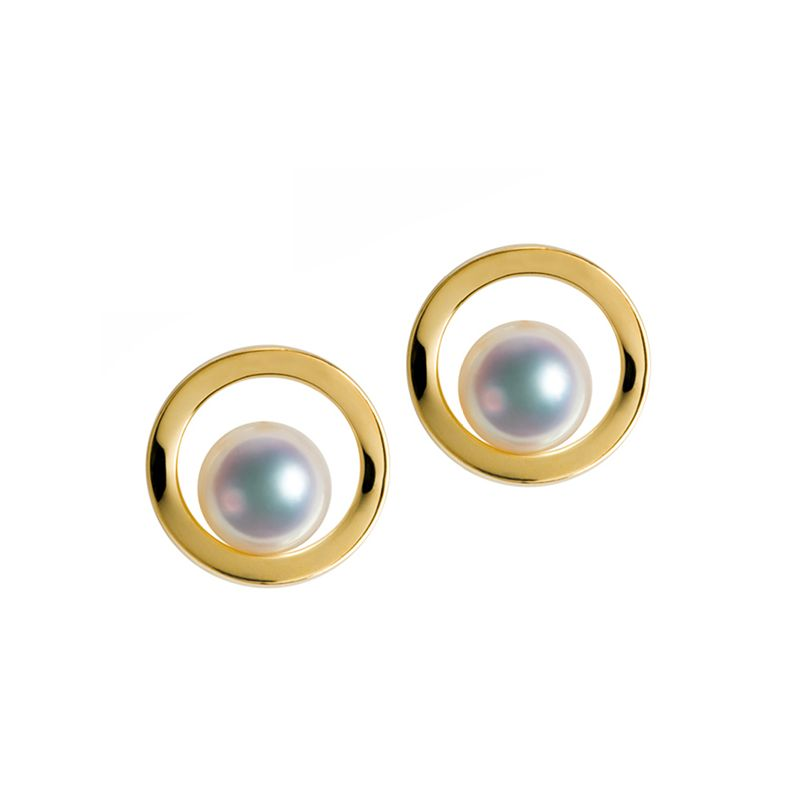 Boucle d oreille perle Akoya - Himiko - Perle du Japon, Or jaune