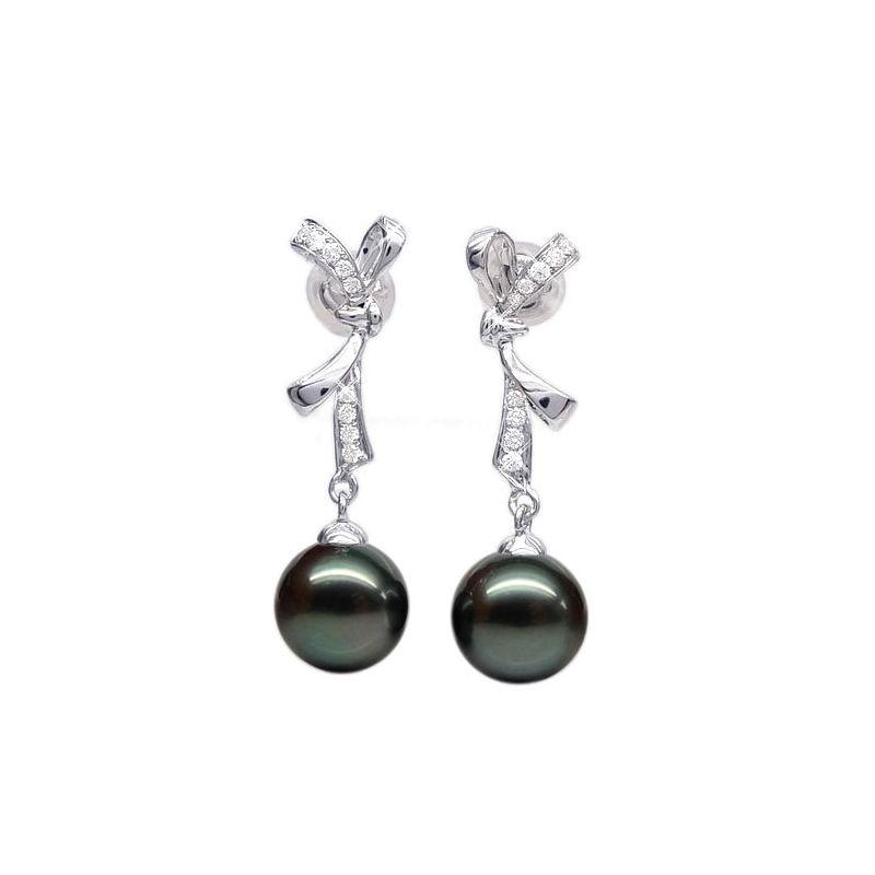 Boucles oreilles ganses - Noeuds papillons - Perles de Tahiti - Or blanc