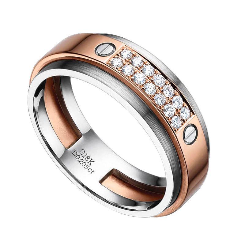 Bague pour homme métal or blanc brossé et rose poli - Diamants