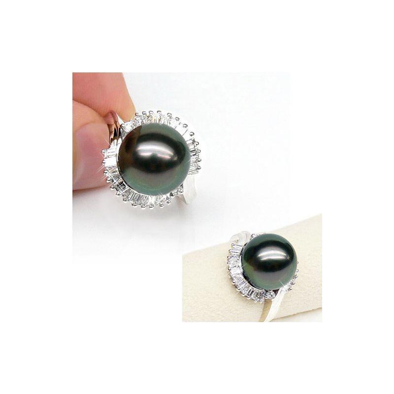 Bague couronne diamantée - Perle de Tahiti, or blanc