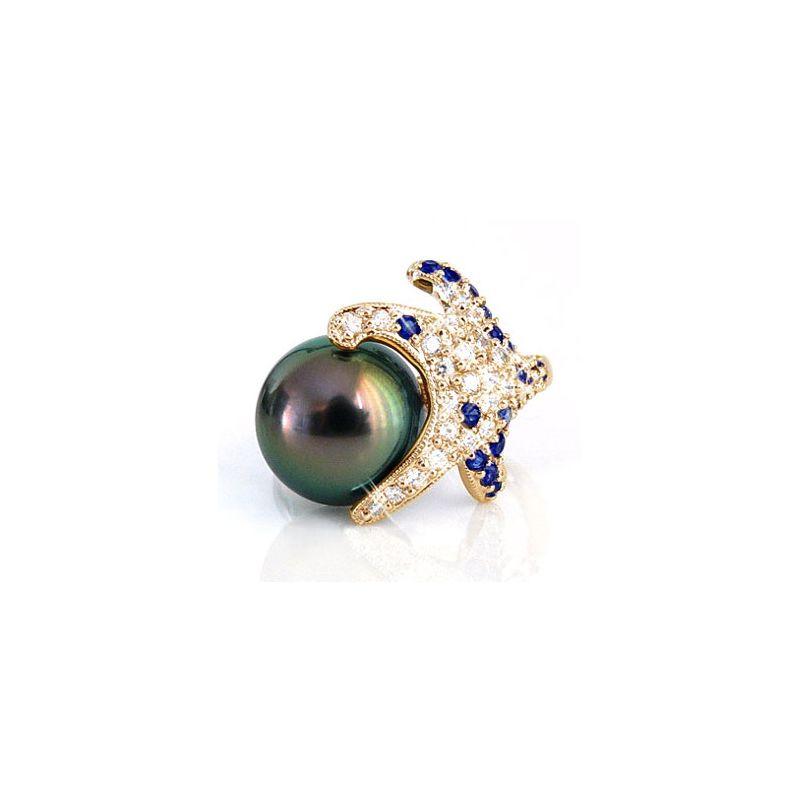 Bague étoile de mer - Perle de Tahiti - Or jaune, diamants, saphirs