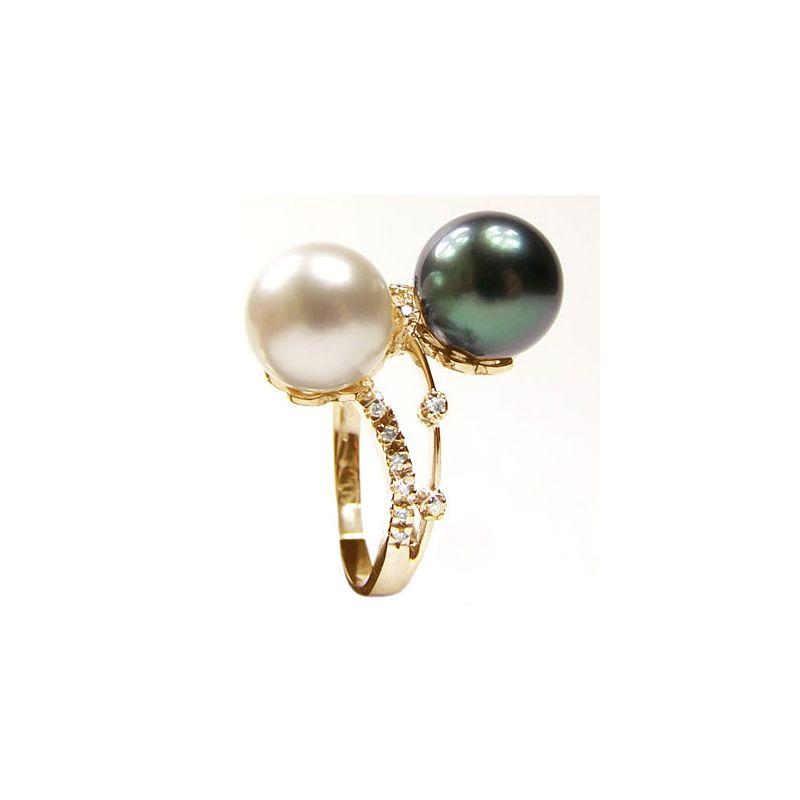 Bague Toi et Moi - Or jaune - Perles des mers du sud