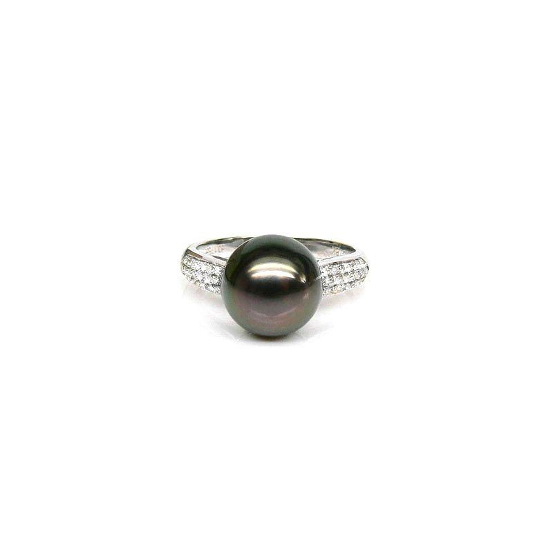 Bague solitaire perle de Tahiti - Or blanc, diamants