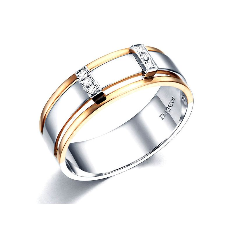 Bague 2 ors Homme - Or rose et blanc 18cts - 6 Diamants