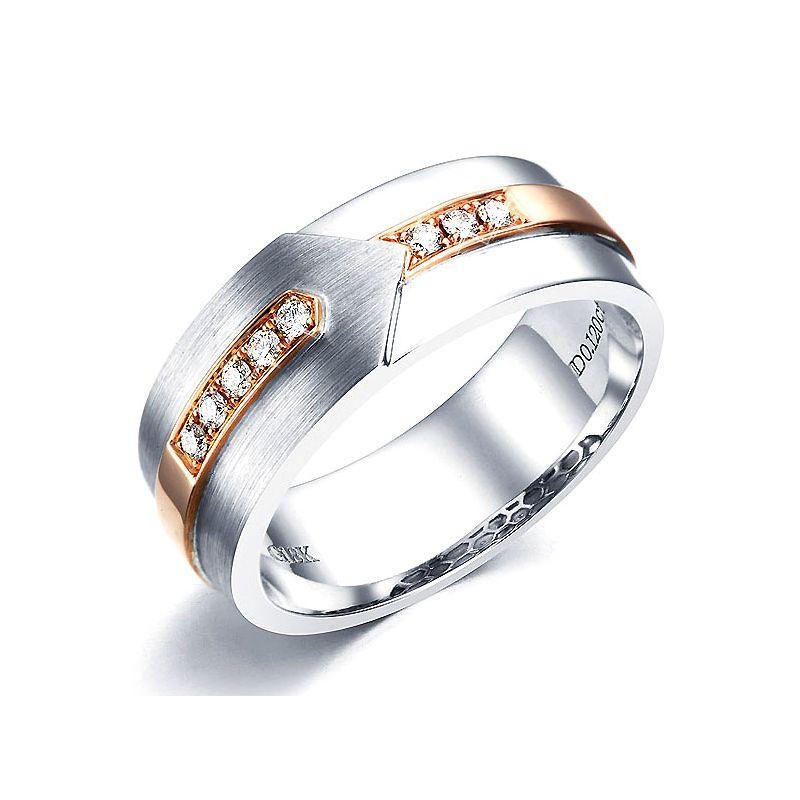 Bague Homme moderne - 2 Ors blanc et rose 18 carats - 8 Diamants