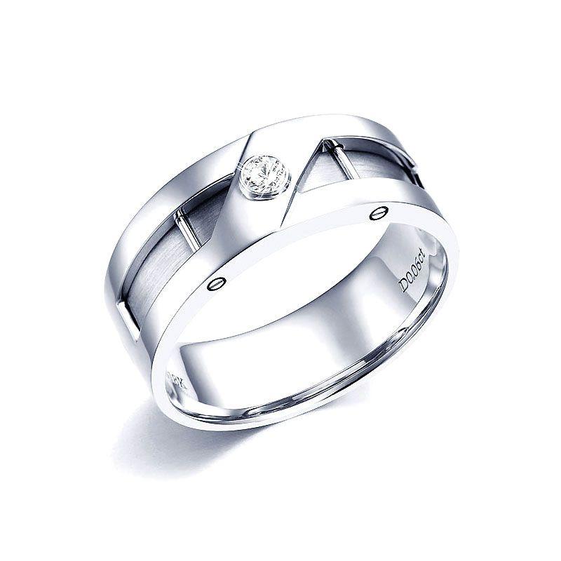 Bague or homme esthétique - Diamant clos - Or blanc 750/1000