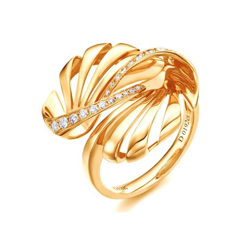 Bague originale or jaune 750/1000 - Diamants 0.192ct