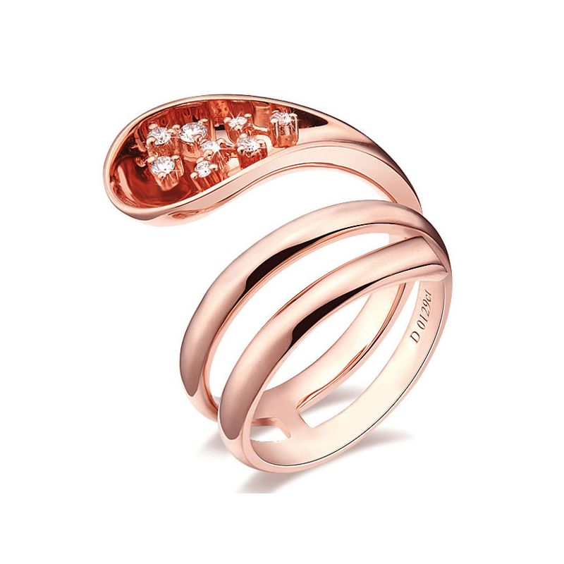 Bague Femme anneau enlacé - Bague en or rose - 9 Diamants 0.129ct