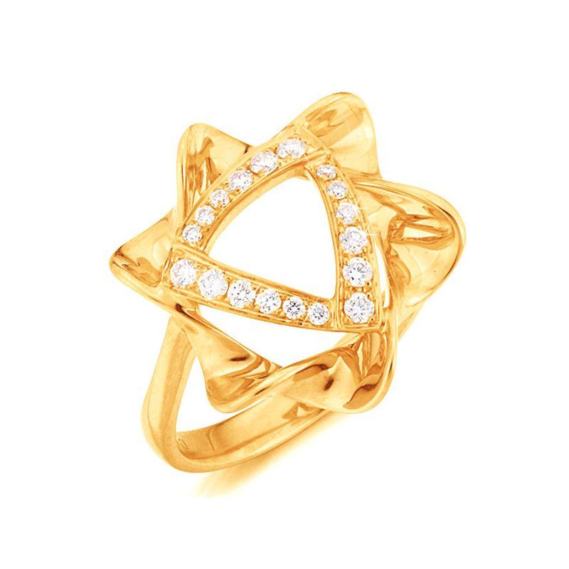 Bague étoile - Or jaune - Pavage diamants 0.21ct