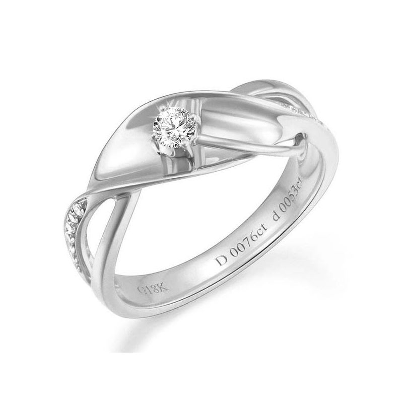 Bague fiançaille en or blanc 750/1000 - Diamants 0.15ct