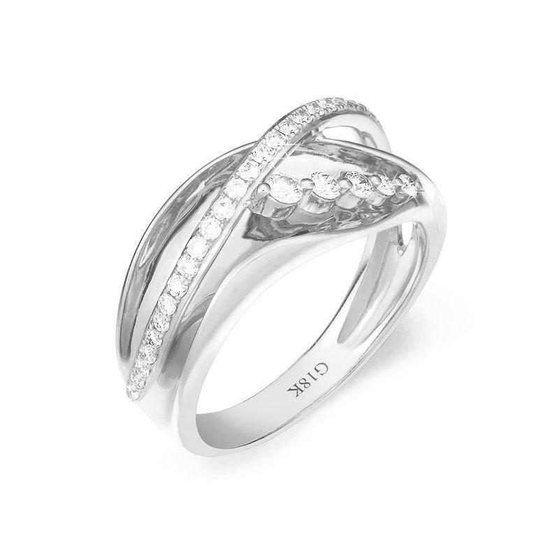 Fiançaille bague - Bague en or blanc 18cts - 35 Diamants de 0.33ct