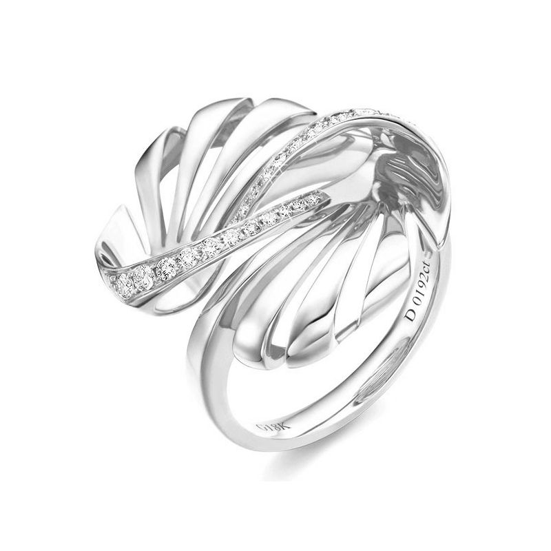 Bague originale or blanc 750/1000 - Diamants 0.192ct