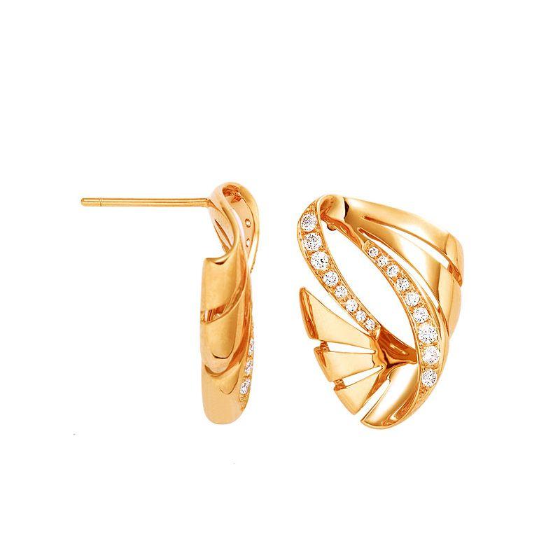 Paire de boucles d'oreilles écailles - Crochets or jaune diamants