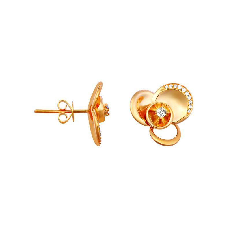 Boucles oreilles clous or jaune - Boucle Arc diamanté serti diamants