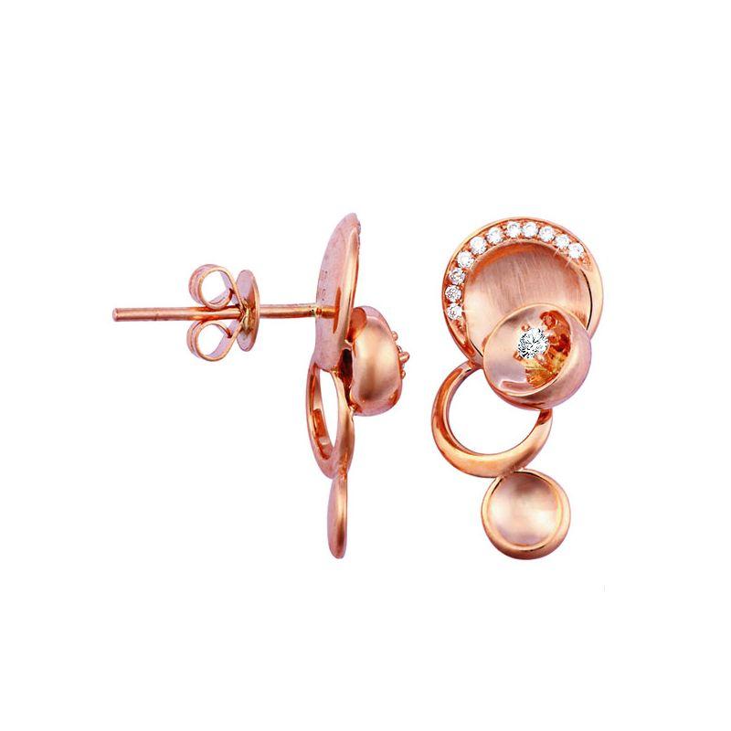 Boucles d'oreilles or - Pendants métal or rose et diamants - Courbes