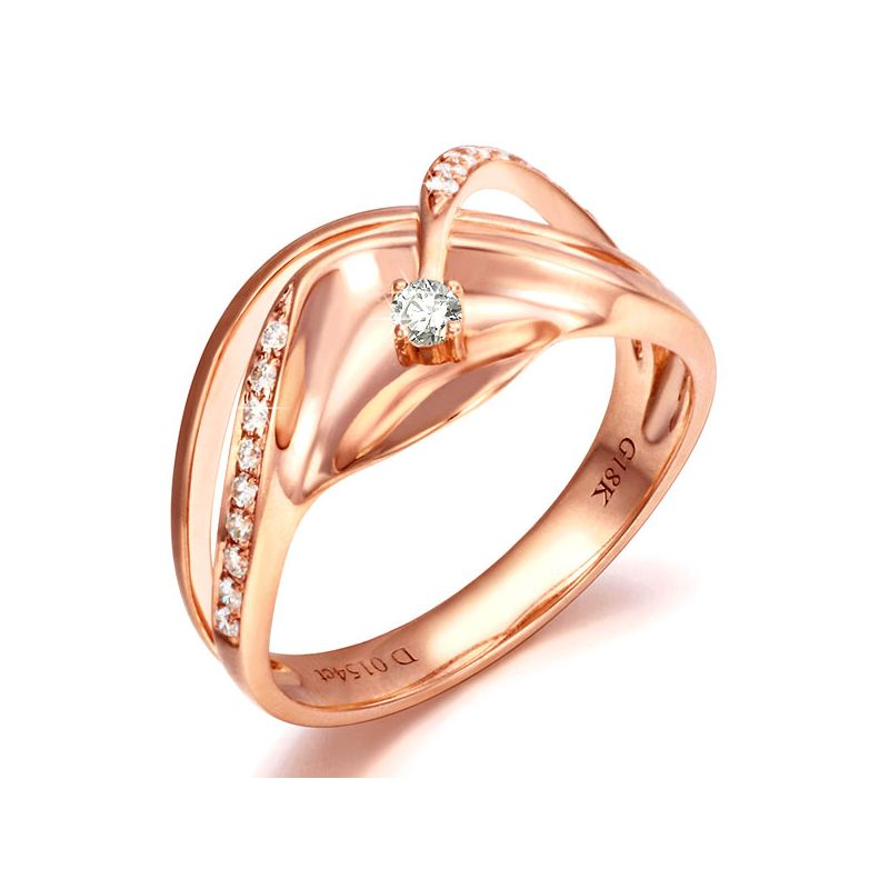 Bague or diamant - Or rose 18 carats - Diamants 0.154ct