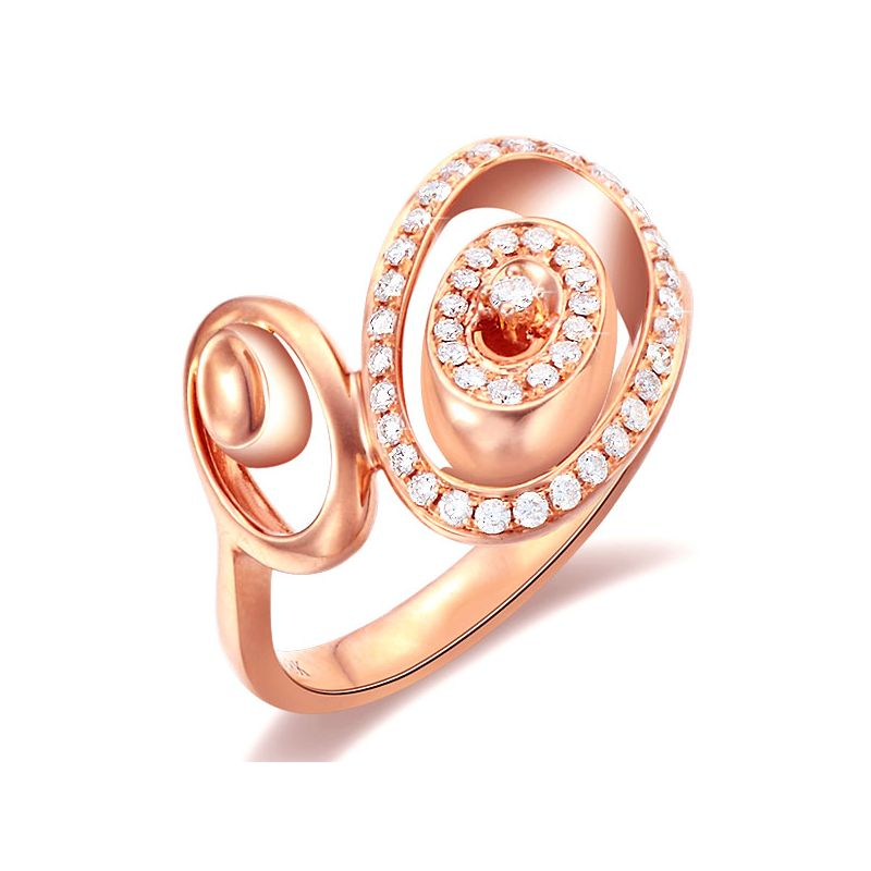Bague Love - Bague moderne en or rose - 45 Diamants de 0.283ct