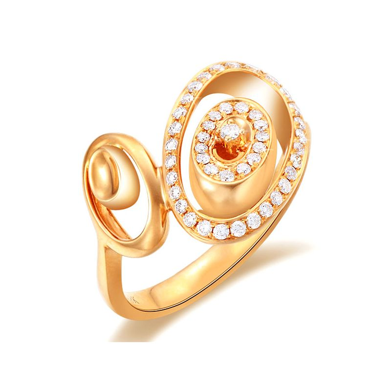 Bague Love - Bague moderne en or jaune - 45 Diamants de 0.283ct