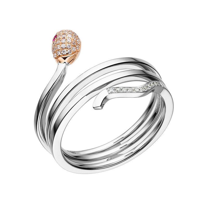 Bague 2 ors - Allumette or blanc et rose - Diamants 0.11ct