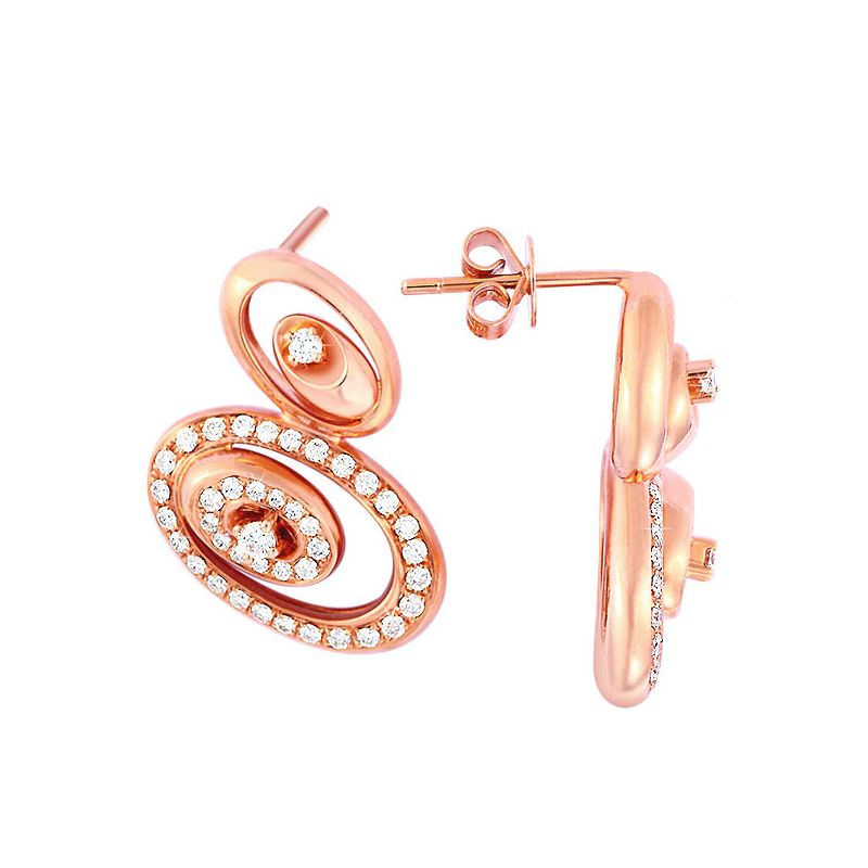 Crochets d'oreilles LOVE - Boucles d'oreilles or rose 18cts, diamants