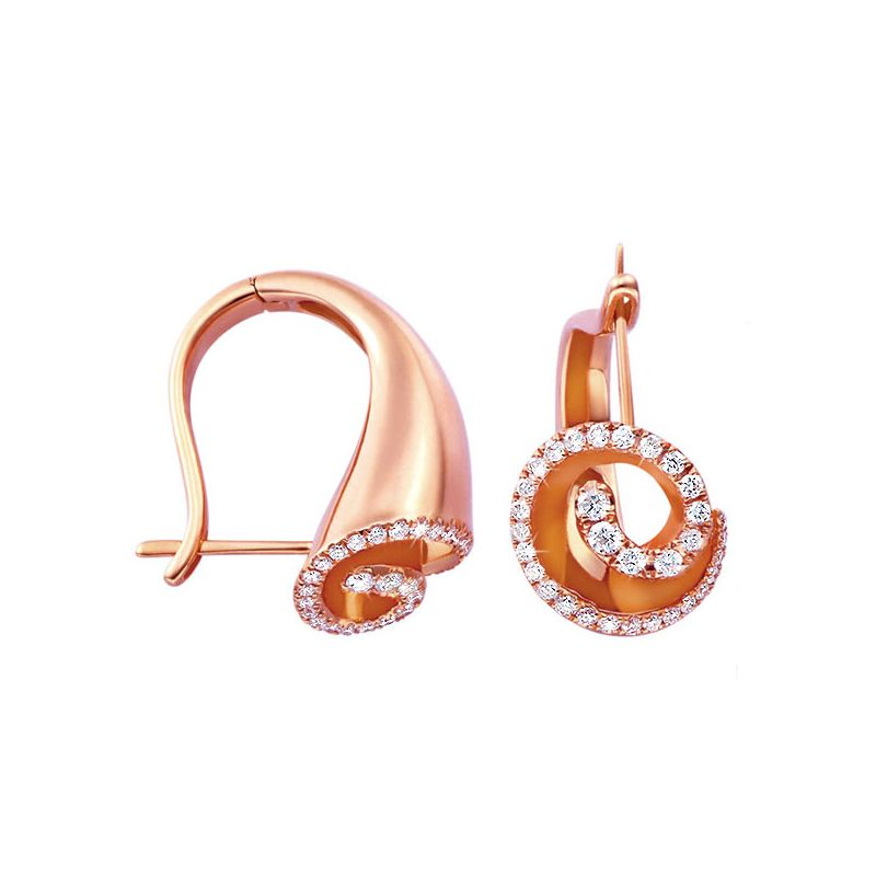 Boucles d'oreilles or rose diamants - Cornes d'abondance de Triton