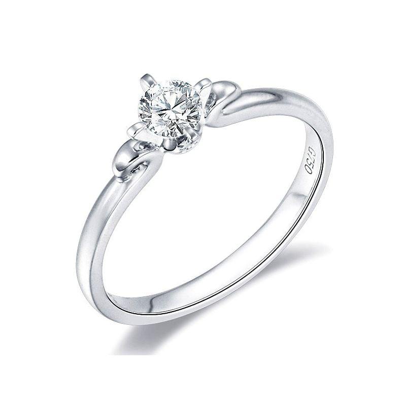 Solitaire or diamant - Bague fiancaille or blanc - Diamant 0.20ct