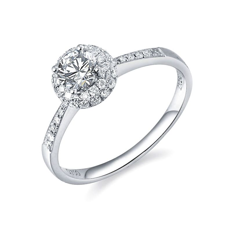 Solitaire bague de fiancaille - Or blanc 18cts - 51 Diamants 0.58ct