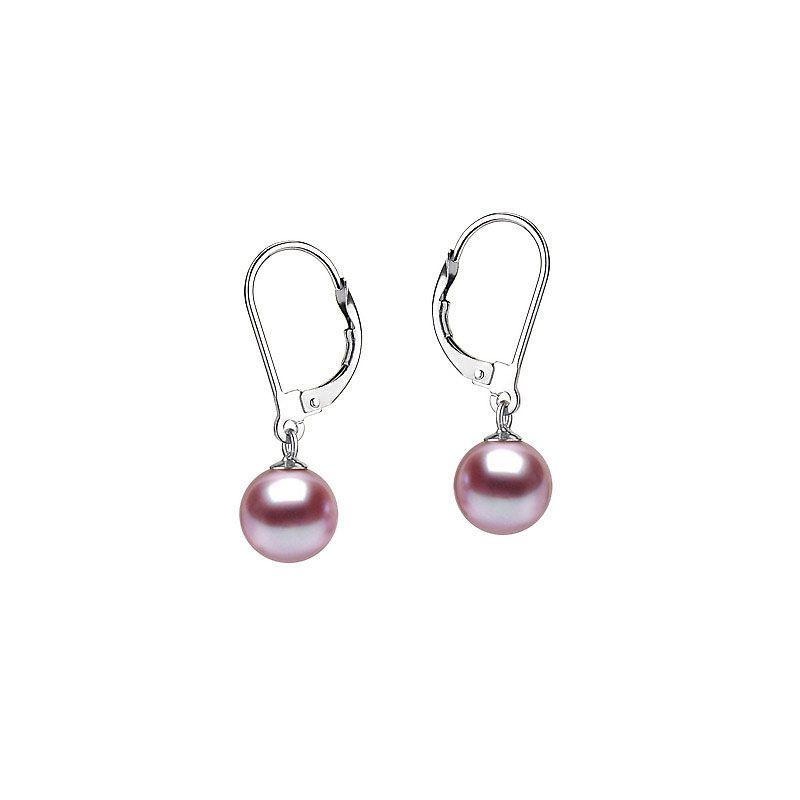 Boucles d'oreilles perles d'eau douce lavandes. 8/9mm. GEMME. Or blanc