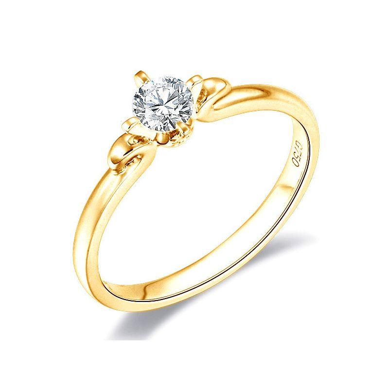 Bague fiancailles - Solitaire en or jaune 750/1000 et diamant 0.20ct