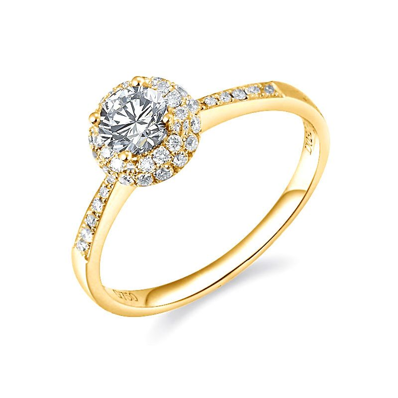Solitaire en or jaune 18 carats - Bague fiancaille diamants 0.58ct
