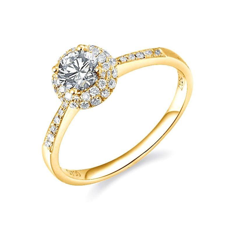 Solitaire en or jaune 18 carats - Bague fiancaille diamants 0.58ct