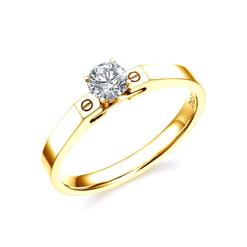 Bague solitaire or jaune - Diamant 0.30ct