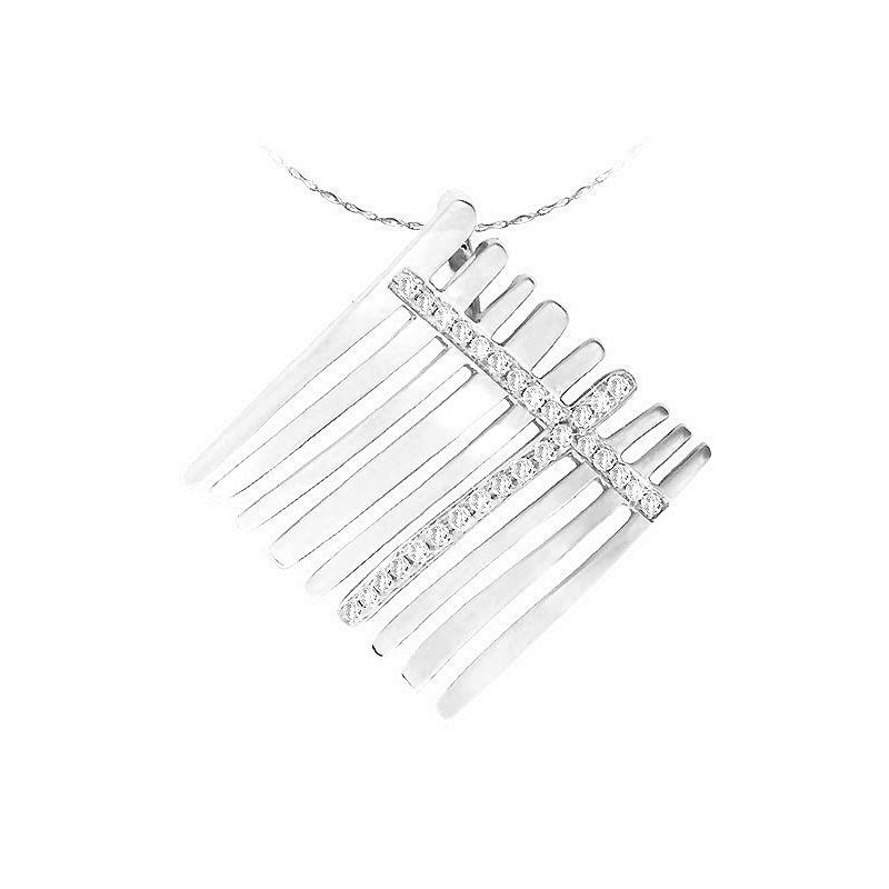 Pendentif sensuel or blanc 750/1000 - Croisement de Diamants 0.177ct
