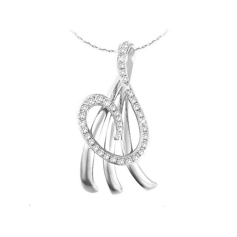 Pendentif marin en or blanc - Symbole du divin - Diamants 0.242ct