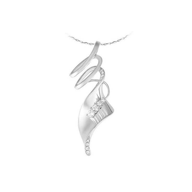 Pendentif or blanc - Émanation du souffle du vent - Diamants 0.14ct